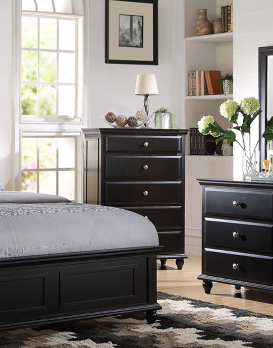 Poundex Black Wood Finish Bedroom Chest