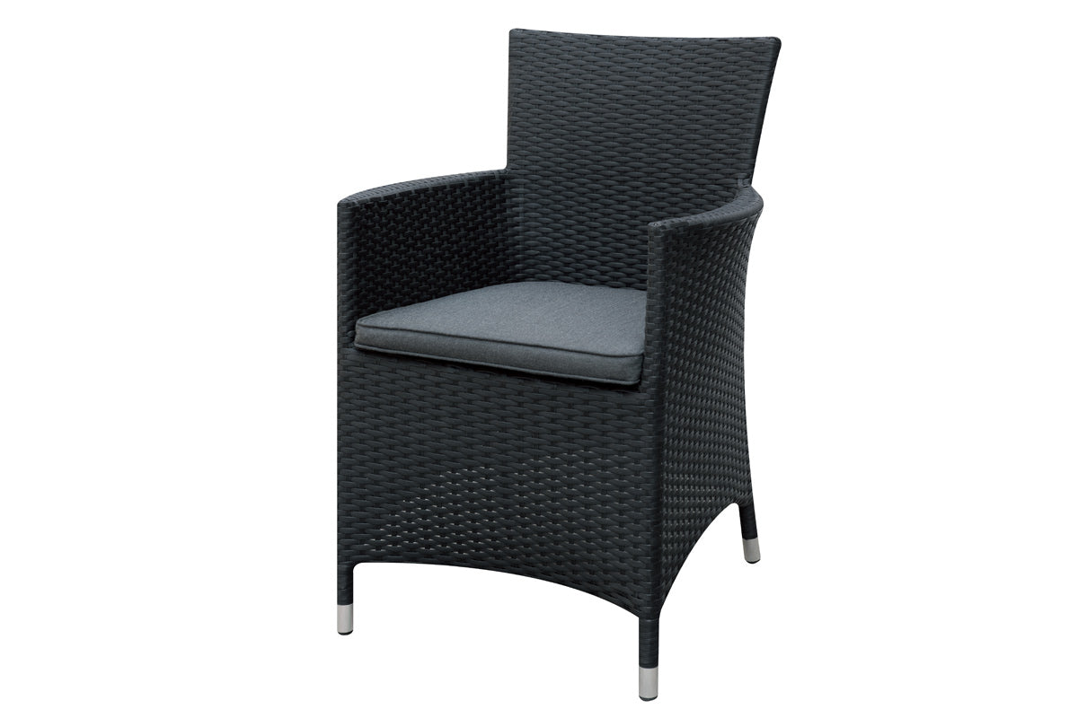 Poundex Black Wicker Outdoor Arm Chair