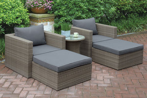 Poundex P50145 Brown And Gray Resin Finish Outdoor Ottoman