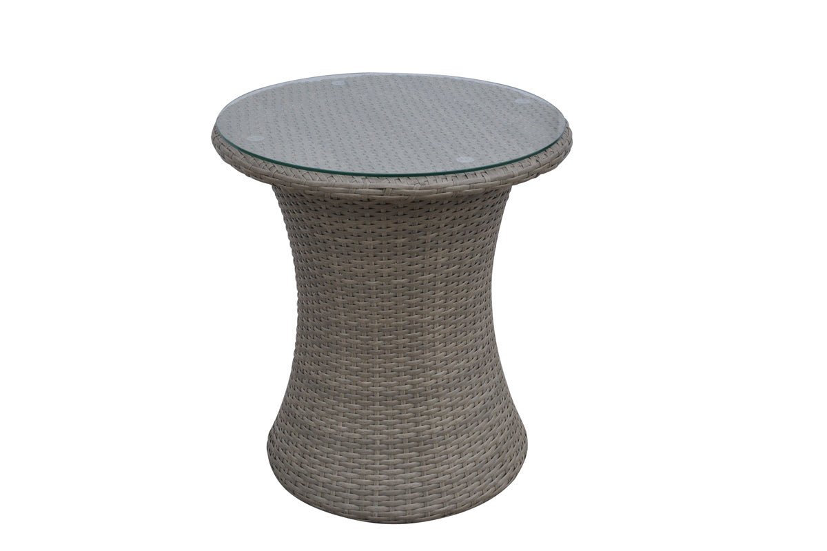 Poundex Walnut Resin Finish Outdoor Side Table