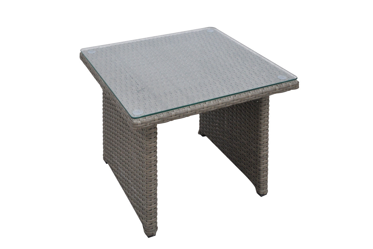 Poundex Gray Aluminum And Resin Finish Outdoor Side Table