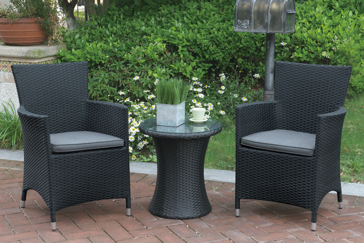 Poundex Dark Brown Resin And Aluminum Finish 3 Piece Outdoor Dining Table Set