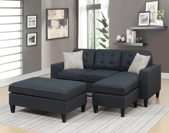 Poundex Black Fabric Finish Contemporary Sectional Sofa With Ottoman