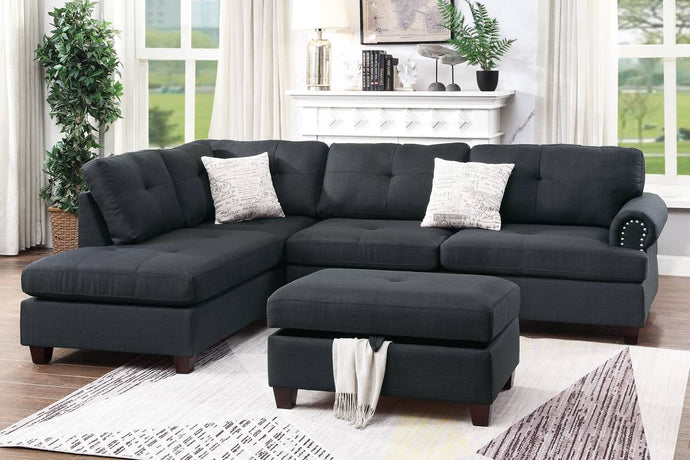 Poundex Black Fabric And Polyfiber Finish 3 Piece Sectional Sofa Set