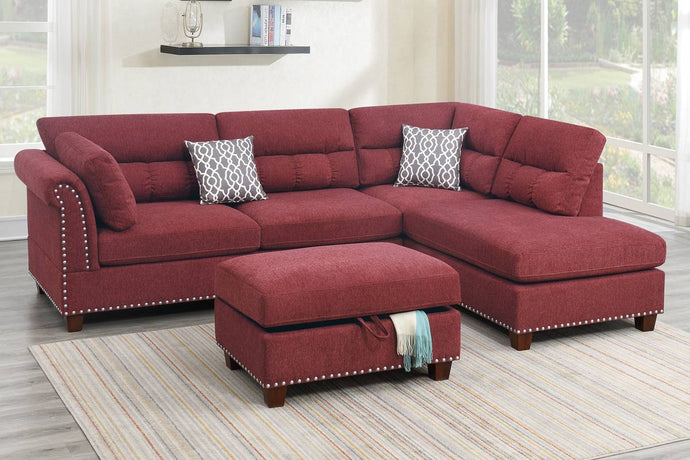 Poundex Red Velvet And Wood Finish 3 Piece Sectional Sofa
