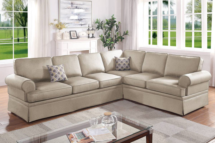 Poundex Beige Polyfiber Finish 2 Piece Sectional Sofa