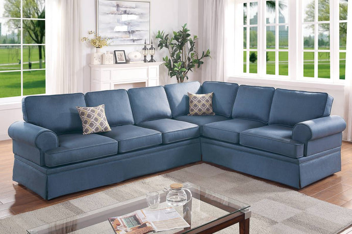 Poundex Blue Polyfiber Finish 2 Piece Sectional Sofa