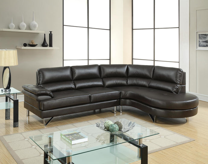 Poundex Espresso Breathable Leatherette Finish 2 Piece Sectional Sofa