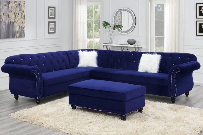 Poundex Indigo Blue Velvet Finish 4 Piece Sectional Sofa