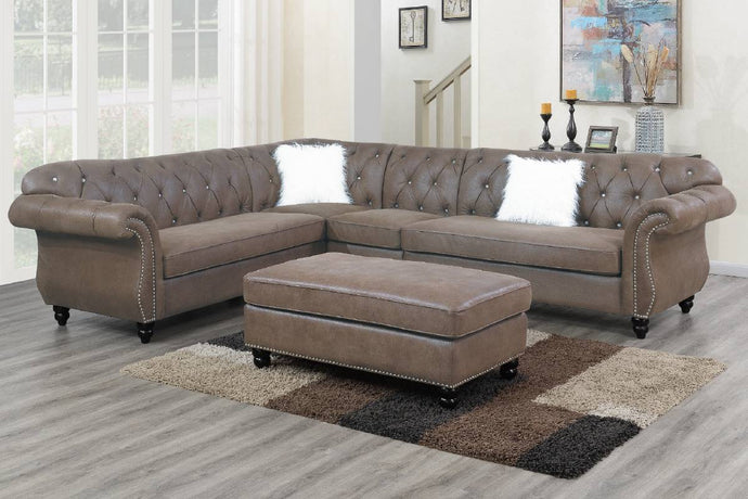 Poundex Dark Coffee Breathable Leatherette Finish 4 Piece Sectional Sofa