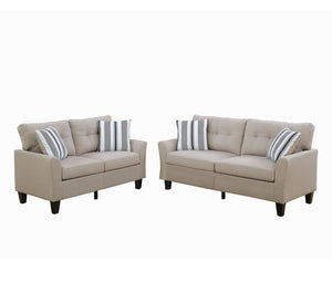 Poundex Beige Polyefiber Finish 2 Piece Sofa Set