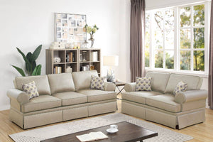 Poundex Beige Polyfiber Finish 2 Piece Sofa Sets