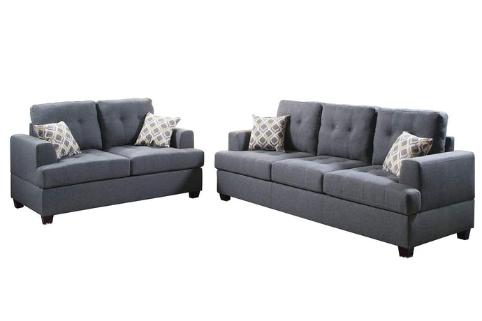 Poundex Blue And Gray Bonded Leather Finish 2 Piece Sofa Set