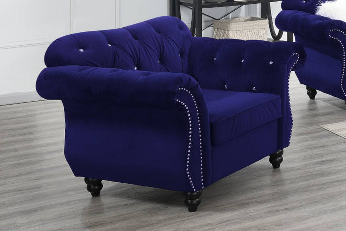 Poundex Indigo Blue Velvet Finish Chair
