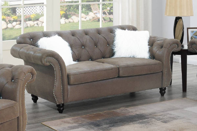 Poundex Dark Coffee Breathable Leathherette Finish Loveseat
