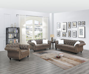 Poundex Dark Coffee Breathable Leathherette Finish 3 Piece Sofa Set