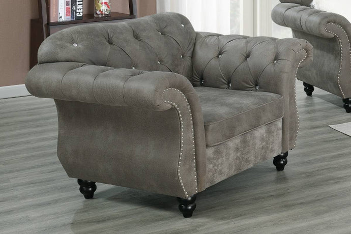 Poundex Slate Gray Breathable Leathherette Finish Chair