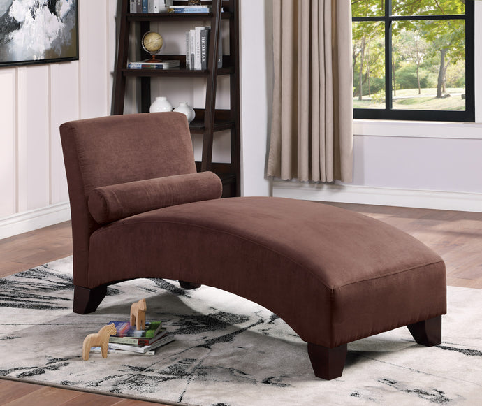 Poundex Chocolate Microfiber Finish Chaise