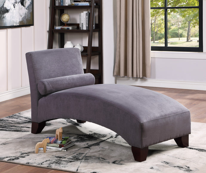 Poundex Gray Microfiber Finish Chaise