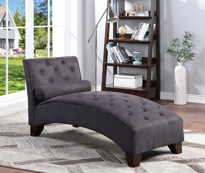 Poundex Ebony Microfiber And Wood Finish Chaise
