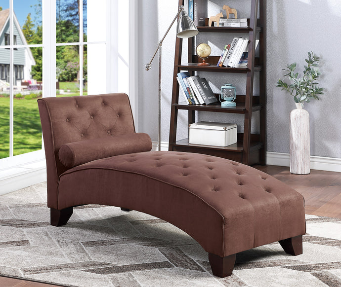 Poundex Chocolate Microfiber And Wood Finish Chaise