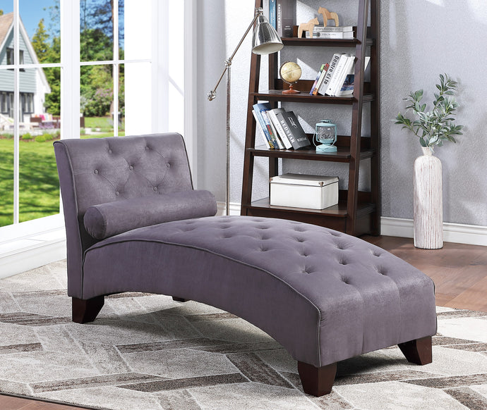 Poundex Gray Microfiber And Wood Finish Chaise