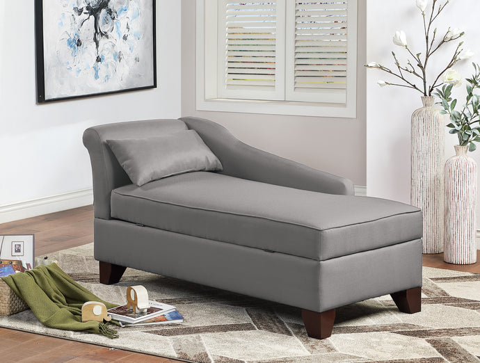 Poundex Gray Polyefiber And Linen Finish Storage Chaise