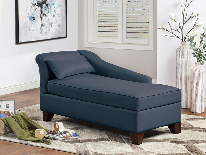 Poundex Dark Blue Polyefiber And Linen Finish Storage Chaise