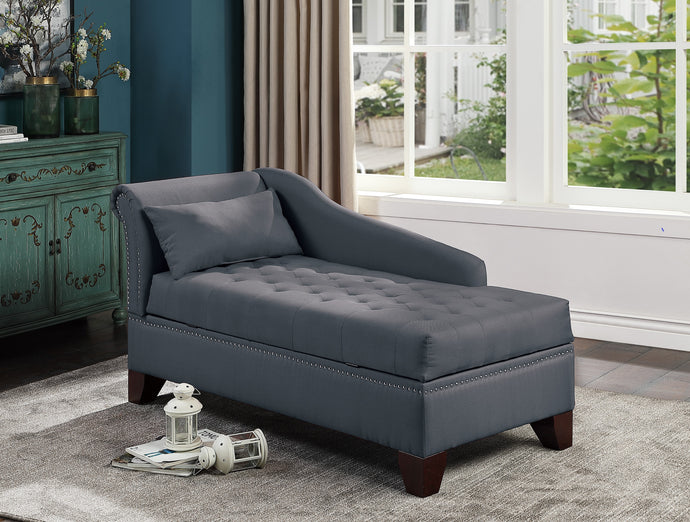Poundex Slate Black Polyefiber And Linen Tuffed Finish Storage Chaise