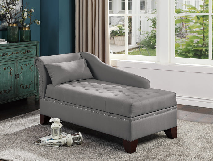 Poundex Gray Polyefiber And Linen Tuffed Finish Storage Chaise