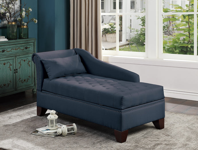 Poundex Dark Blue Polyefiber And Linen Tuffed Finish Storage Chaise
