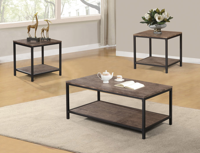 Poundex Natural Vaneer Wood Finish 3 Piece Coffee Table Set
