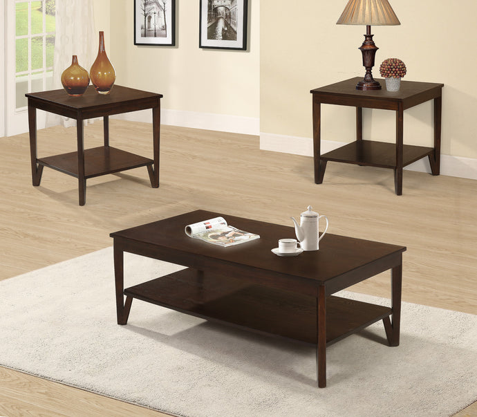 Poundex Cherry Wood Finish 3 Piece Coffee Table Set