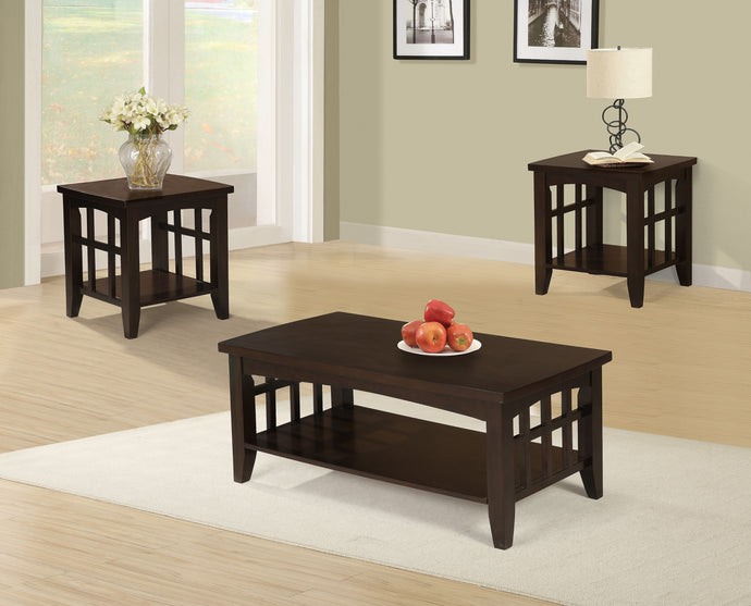 Poundex Cherry MDF Wood Finish 3 Piece Coffee Table Set