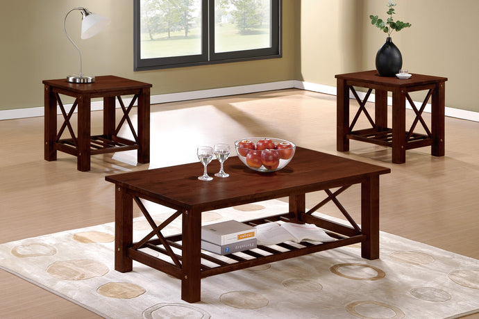 Poundex Cherry Vaneer Wood Finish 3 Piece Coffee Table Set