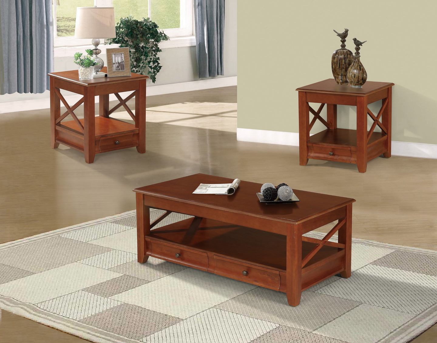 Poundex Cherry Solid Wood Finish 3 Piece Coffee Table Set Flatfair