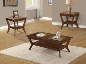 Poundex Brown Solid Wood Finish 3 Piece Coffee Table Set