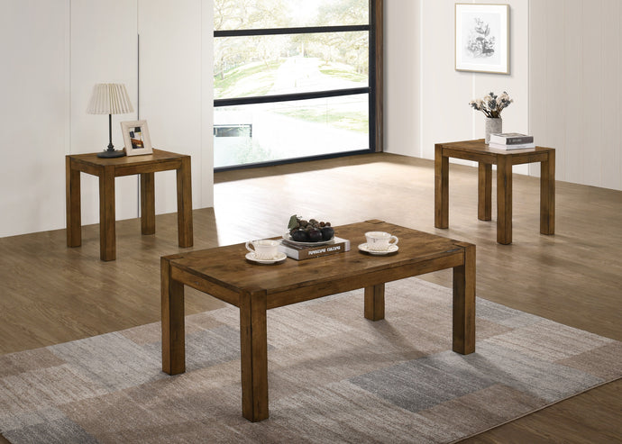 Poundex Brown Wood Finish 3 Piece Coffee Table Set