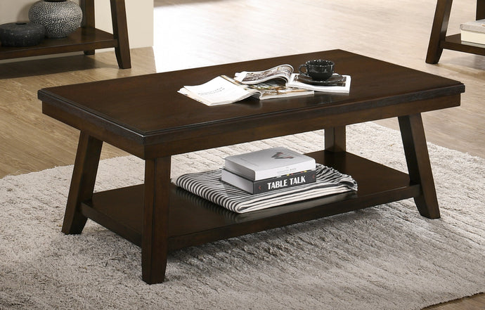 Poundex Espresso Wood Finish Coffee Table
