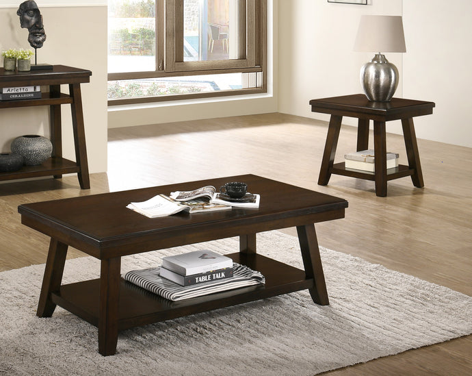 Poundex Espresso Wood Finish 3 Piece Coffee Table Set