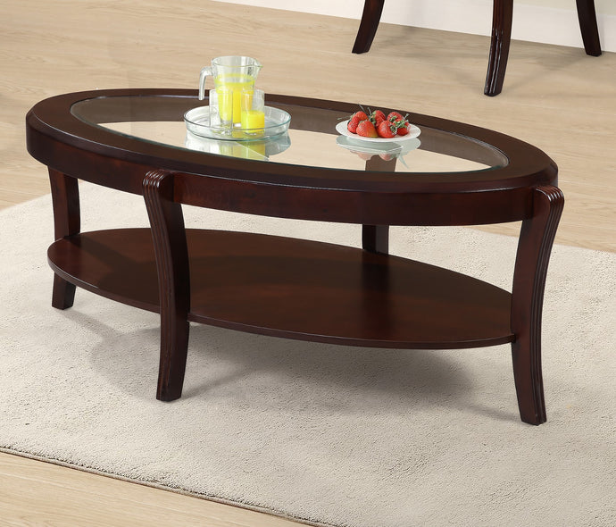 Poundex Espresso Wood And Glass Top Finish Coffee Table