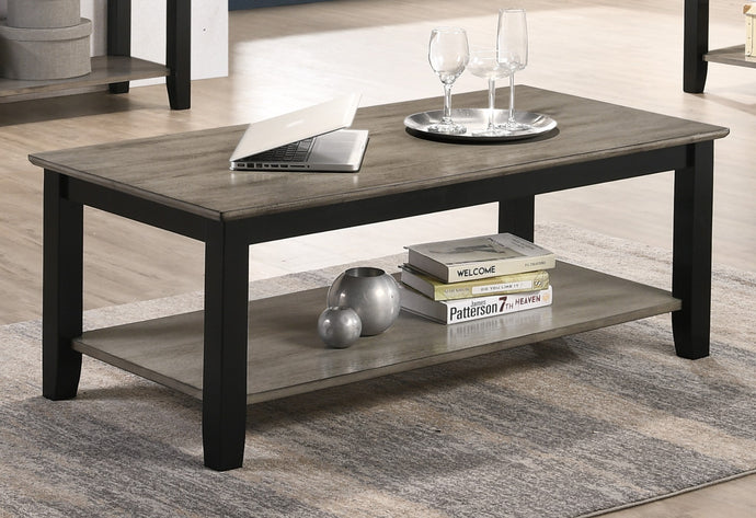 Poundex Dark Brown Wood Finish Coffee Table