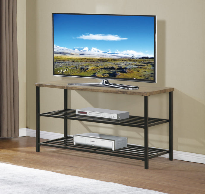 Poundex Gray Wood And Metal Finish TV Stand