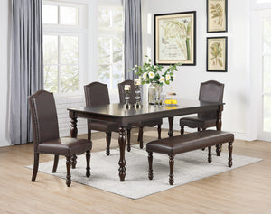 Poundex Ebony Wood And Fuax Leather Finish 6 Piece Dining Table Set