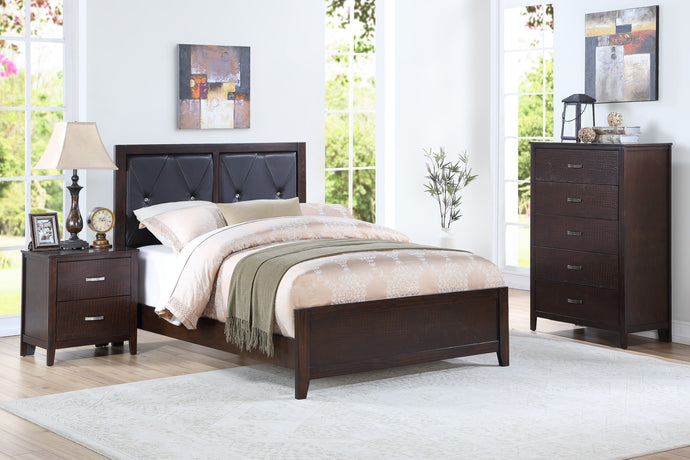 Poundex Cherry Wood Finish 3 Piece Twin Bedroom Set