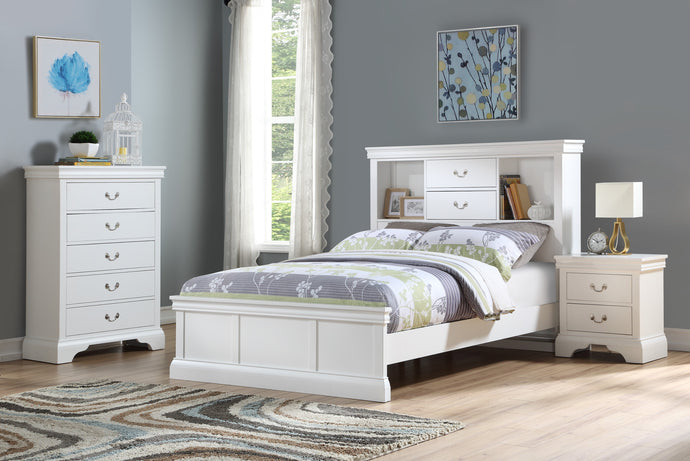 Poundex White Pine Wood Finish 3 Piece Twin Bedroom Set