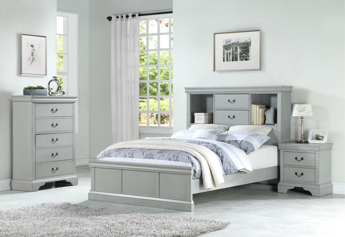 Poundex Gray Pine Wood Finish 3 Piece Full Bedroom Set