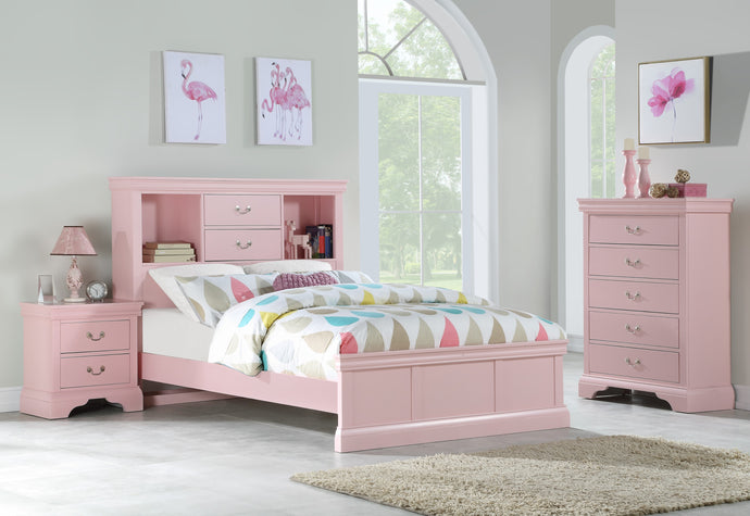 Poundex Pink Pine Wood Finish 3 Piece Full Bedroom Set