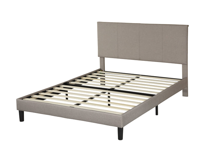 Poundex Gray Wood And Linen Finish Full Bed
