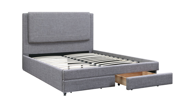 Poundex Stone Ash Polyfiber Finish Storage Full Bed